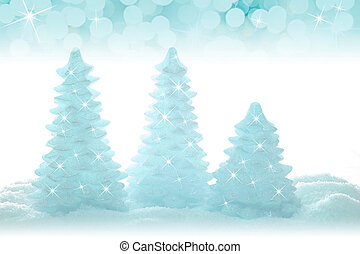 Blue Christmas trees - Blue sparkling Christmas tree...