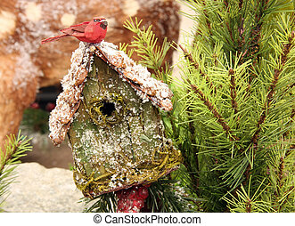Bird house - Christmas scene with a snow covered bird house...