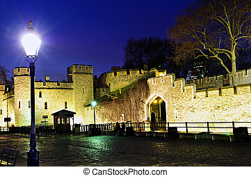 Tower of London walls at night - Illuminated Tower of London...