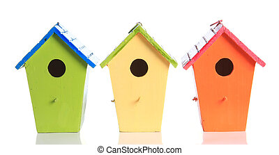bird house - Colorful bird houses isolated on white.