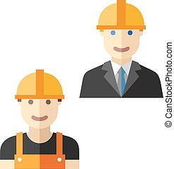 worker construction flat avatar set - construction worker...
