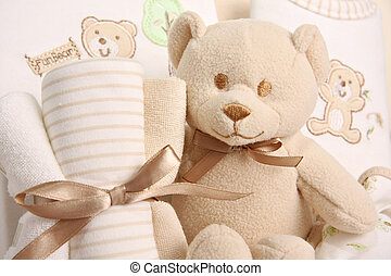 baby gift basket - Baby gift basket including a teddy bear,...