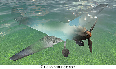 double exposure of airplane with underwater landscape made...