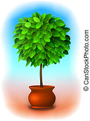 Topiary tree Vector - Vector green topiary tree in a pot...