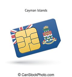 Cayman Islands mobile phone sim card with flag Vector...