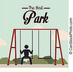 Park design over landscape background vector illustration