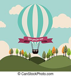 Air balloon over landscape background vector illustration -...