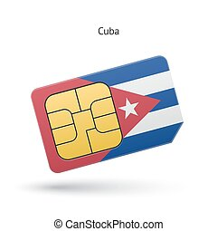 Cuba mobile phone sim card with flag Vector illustration