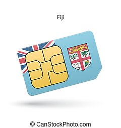 Fiji mobile phone sim card with flag Vector illustration