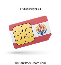 French Polynesia mobile phone sim card with flag. Vector...