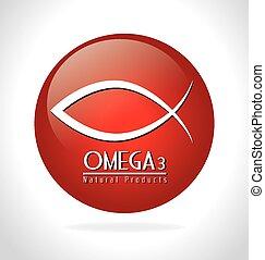 Omega design, vector illustration. - Omega design over white...