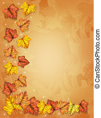 Autumn Fall Leaves Border