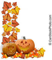 Halloween Border pumpkins and leaves - Image and...