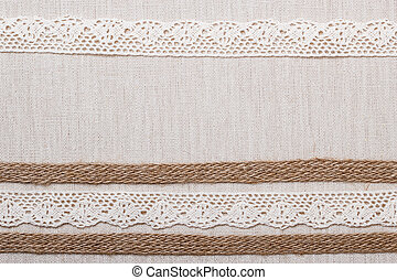 Lace frame on linen cloth background - Lace frame on natural...