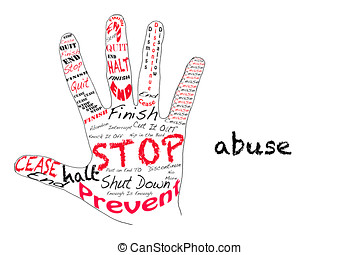 Stop Abuse - Outline of a hand with the words for Stop along...