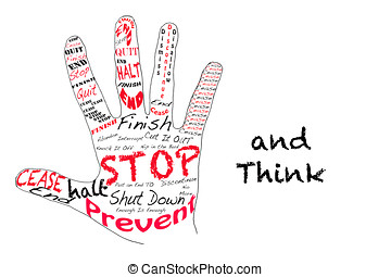 Stop and Think - Outline of a hand with the words for Stop...
