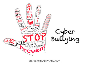 Stop Cyber Bullying - Outline of a hand with the words for...