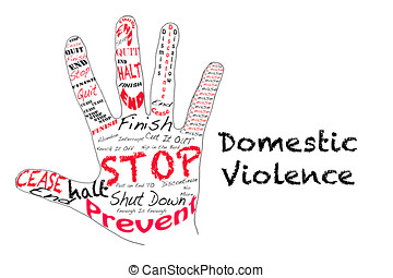 Stop Domestic Violence - Outline of a hand with the words...