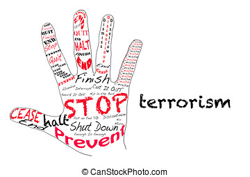 Stop Terrorism - Outline of a hand with the words for Stop...