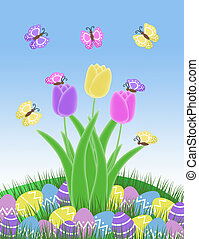 butterfly tulips and easter eggs - isolated purple pink and...