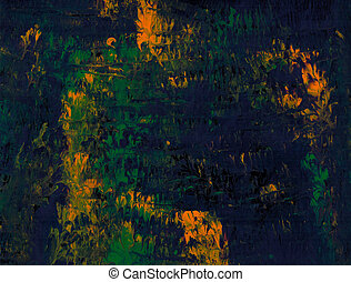 Blue Green Flame - Blue green abstract acrylic