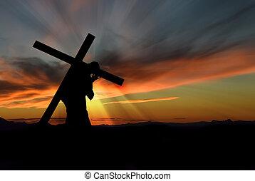 Jesús, Cristo, proceso de llevar, cruz,