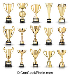 golden trophies - Set of golden trophies. Isolated on white...