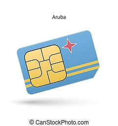 Aruba mobile phone sim card with flag Vector illustration