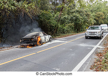 CHIANG MAI, THAILAND - JANUARY 1 : Car fire due to a gas...