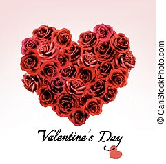 Valentine's Day Gift Card. Heart made of red roses. Vector.