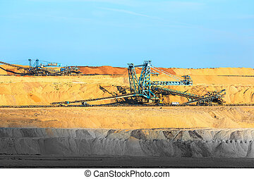 Mining machinery in the mine closeup