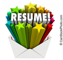 Resume Word Stars Open Envelope Promote Your Skills...
