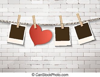 Background with heart and photos. Valentine's day vector.