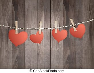 Background with red hearts on wooden texture. Valentine's day vector.