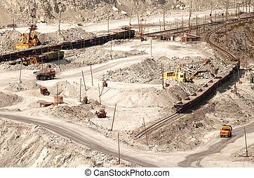 Quarrying. The industrial production of asbestos. Industrial...