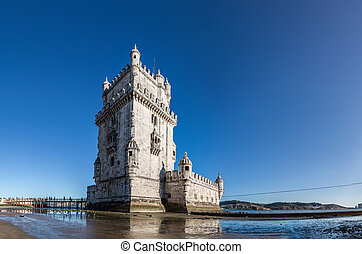 Belem Tower in Lisbon - Belem Tower on the Tagus river in...