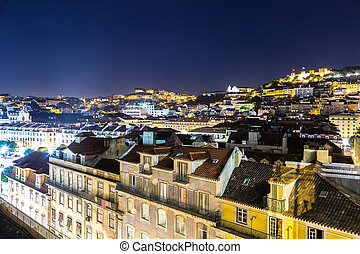 Lisbon at Night - Aerial view of Lisbon at night, Portugal....