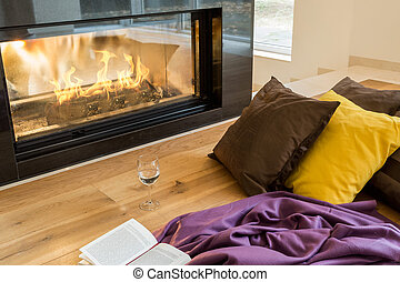 Modern fireplace in huge house - Modern fireplace in the...