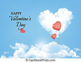 Valentine background with heart clouds and balloons. Vector.