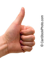 All right! - Man\'s hand. Gesture of approval. Isolated on...
