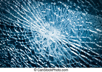 broken tempered glass closeup - broken armoured glass...