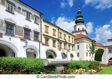 Kromeriz castle (UNESCO) and square in Kromeriz, Moravia,...