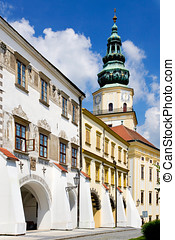 Kromeriz castle UNESCO and square in Kromeriz, Moravia,...