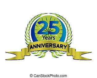 Celebrating 25 Years Anniversary - Green Laurel Wreath Seal...