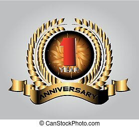 Celebrating 1 Years Anniversary Retro Label