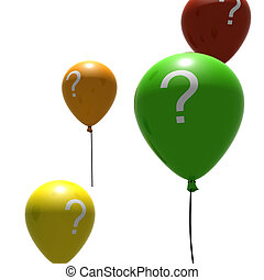 balloons with question-mark symbols - multicolored balloons...