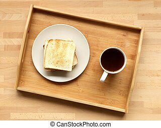Breakfast tray - A close up shot of a wooden breakfast tray