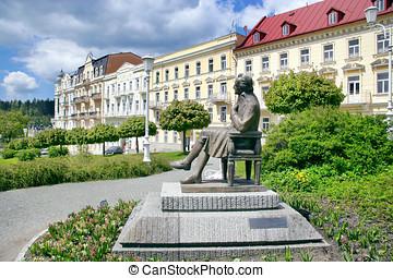 J. W. Goethe statue, spa Marianske lazne, Czech republic -...