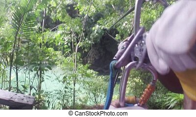 4k Zip line in tropical jungle fore - Zip lining extreme...
