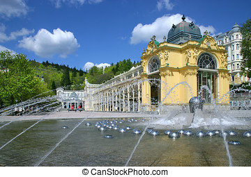 Singing fountain, spa Marianske lazne, Czech republic -...